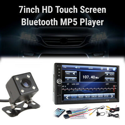 7inch 2DIN Car MP5 Player Bluetooth Touch Screen Stereo Radio HD+Rear Camera LIP