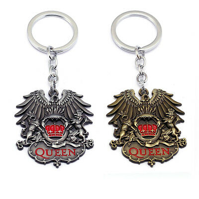 Rock Band Queen Keychain Punk Antique Wings Crown Lion Pendant Key Ring Holder