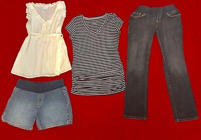 Pre-owned Maternity 4-piece Lot Medium Jeans, Blouse, Shorts, Striped T-shirt M