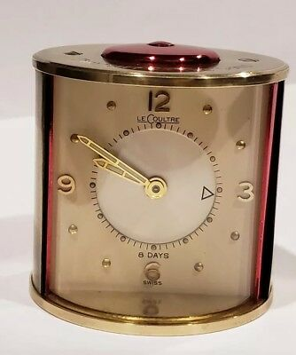 Vintage BRASS JAEGER LECOULTRE MEMOVOX 8 DAYS TRAVEL ALARM CLOCK SWISS MADE