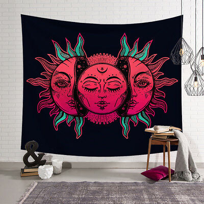 Psychedelic Moon and Sun Wall Art Tapestry Dorm Home Decor  Hanging Beach Towel