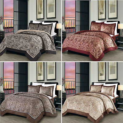 Indian Mandala Black Cream Brown Grey Paisley Quilted Bedspread & Cushion Covers