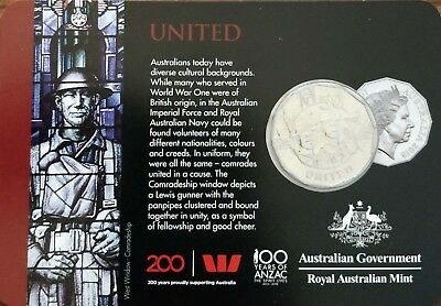 🌟 2018 Anzac Coin Collection:   UNITED    50 CENTS (Herald Sun) 🌟