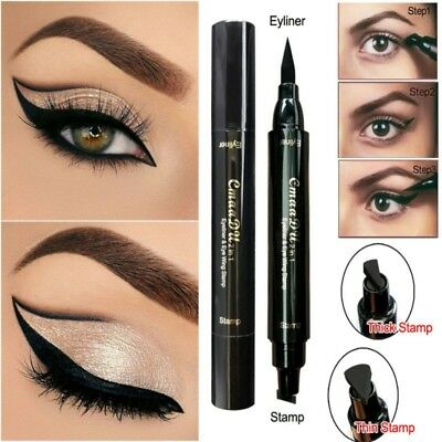 Waterproof Winged Stamp Eyeliner Makeup Eye Liner Pencil Black Liquid Cosmetic
