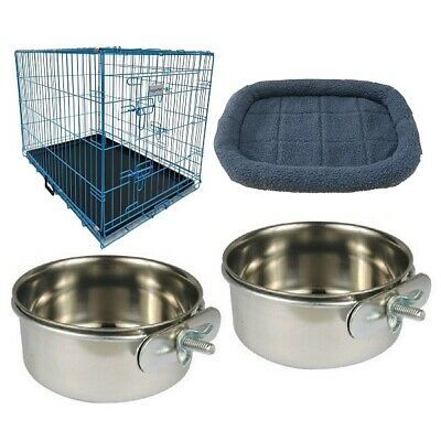 HugglePets Dog Puppy Folding Cage Crate Blue Pink - Bed & 2 Bowls - S M L XL XXL