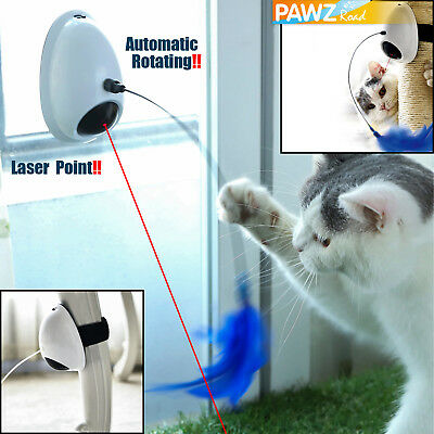 Automatic Rotating Laser Electronic Interactive Pet Cat Toy Teaser Plush Fun Gym