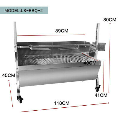 Charcoal Grill Rotisserie Machine Hog Roast Machine Outdoor BBQ Stainless Steel