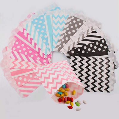 25Pcs Sweet Candy Paper bags Striped Dots party Birthday Wedding Buffet Gift Bag
