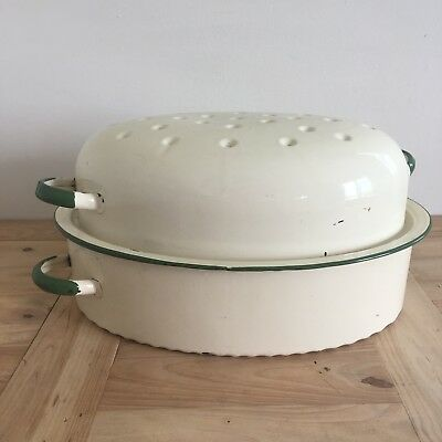 "1950's Vintage Large Cream and Green Roast Oven Lidded Pan 40cm x 28cm (16 x11"")"