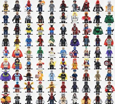 WB Dc Comics + Marvel Avengers Superhero Custom Printed Mini figure fit Lego Toy
