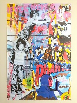 """Mr. Brainwash Rare """" Never Give Up """" Authentic Lithograph Print Pop Art Poster"""