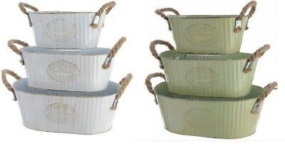 Metal Planters Pot Holders Troughs Green or White 3 Sizes Vintage French Style