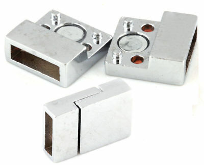 Plated Clasps Silver Jewelry Bracelets Findings Smooth Magnetic Square