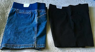 NEW - In Due Time Maternity Shorts, Large, 2-Pair, Black, Denim