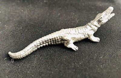 Pewter Crocodile Reptile Highly Detailed Silver Metal Figurine Statue