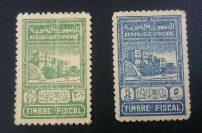 Syria 2 1/2 and 5 Piasters 1945 p65A P56B Stamp used as Banknote Extremely RARE