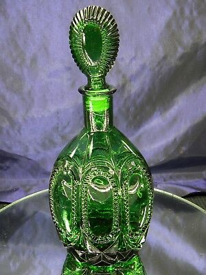Vintage Tall Emerald Green Glass Patterned Decanter with Stopper