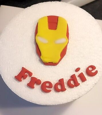Edible Handmade Sugar Iron Man Personalised Birthday Cake Topper Decoration Name