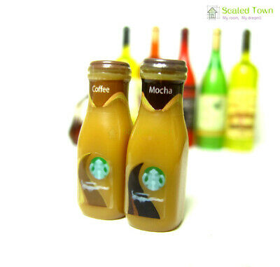 2 Dollhouse Miniature Starbucks Coffee Mocha Bottles Food Drink Beverage 1:6 Toy