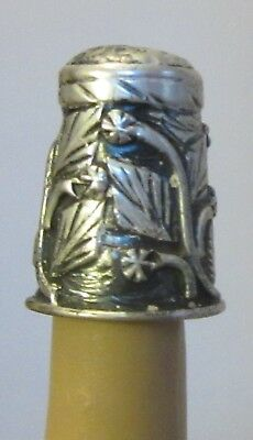 vtg 925 STERLING SILVER THIMBLE heavy applied flowers leaves vines