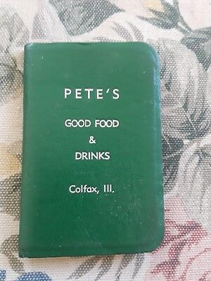 Pete's Good Food and Drink Booklet Colfax Illinois 1966-67