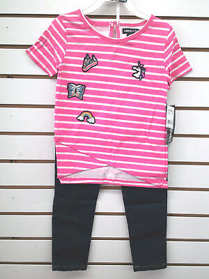 Girls Limited Too $44 2pc Neon Pink & White Striped Set Size 4 - 6X