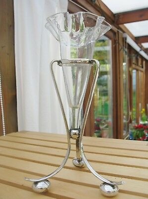A Beautiful Silver Plate & Glass fluted Flower Vase - EPNS