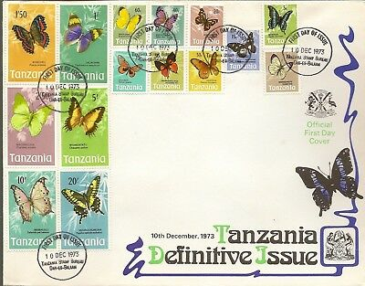 Tanzania 1973 Butterfly Definitives To 20/- Sg158/72 On Illus First Daycover