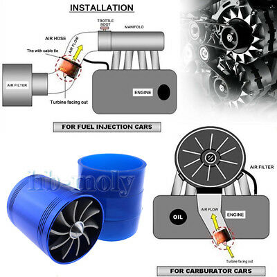 Blue Air Intake Turbo Double Fan Ram Pipe Induction Filter Kit Universal Chrome