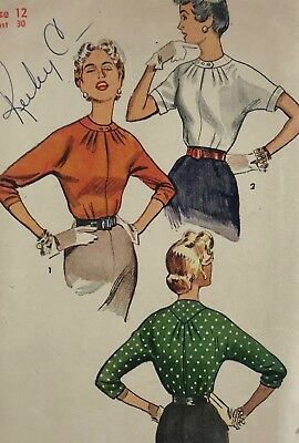 1950s Simplicity Vintage Sewing Pattern 4610 Blouse Bust 30