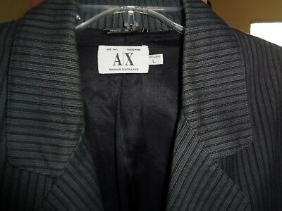 ARMANI EXCHANGE 50's Style Black & Silver Stripes! Flap Pockets 3 Button ITALY L