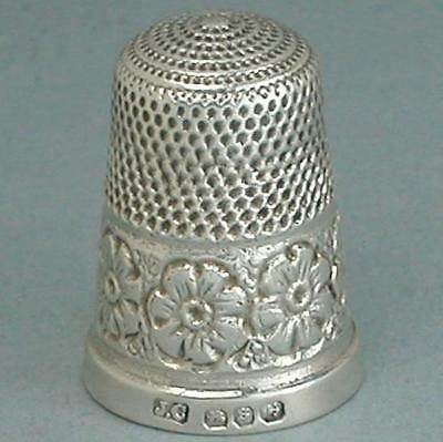 Antique English Floral Band Sterling Silver Thimble * Hallmarked 1892