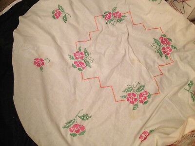 "Vintage Embroidered Tablecloth 60"" Round Hand Made Quality Cross Stitched"