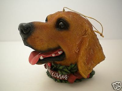 """Brown Dog Lab Labrador Head Ornament Holiday Kisses Canine Realistic 3.5"""""""