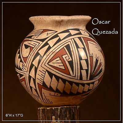 MATA ORTIZ OLLA VASE AUTHENTIC SIGNED SCULPTED HAND MADE OSCAR QUEZADA oQm2