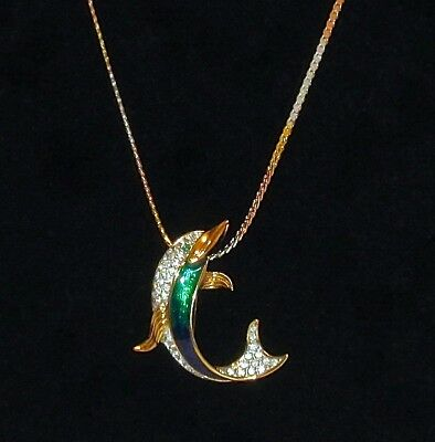 A&S ATTWOOD SAWYER- DOLPHIN- Enameled Brooch Pin /Pendant- NIB + NECKLACE CHAIN