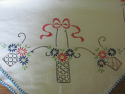 Vintage Hand Embroidered Table Scarf Red Blue On White Floral