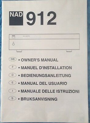 NAD 912 AMPLIFIER Owner's Manual *Original, Never Opened*