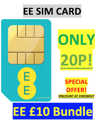 EE SIM Card £10 Data Pack UK 4G Triple Cut Standard/Micro/Nano PAYG - ONLY 20P!