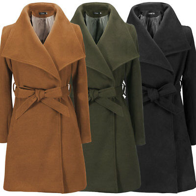 Women Winter Outwear Wool Blends Long Jacket Warm Parka Tops Trench Coat