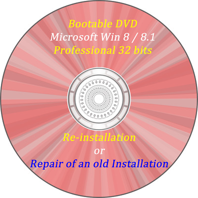 Bootable windows 8 / 8.1 Professional 32 bits DVD