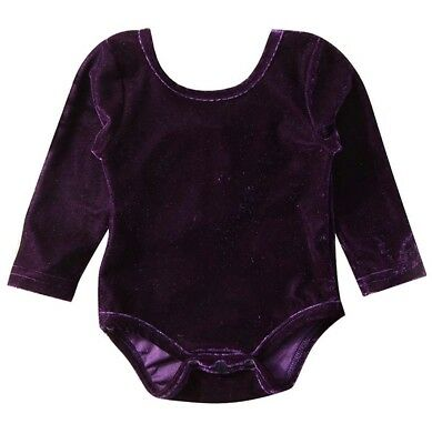 Baby Girls Long Sleeve Velvet Bowknot Backless Jumpsuit Outfits Purple 6-12 M