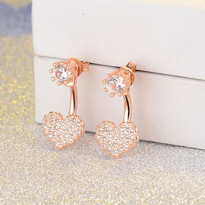 Fashionable Love Heart Shape Shiny Crystal Ear Stud Earrings for Ladies one