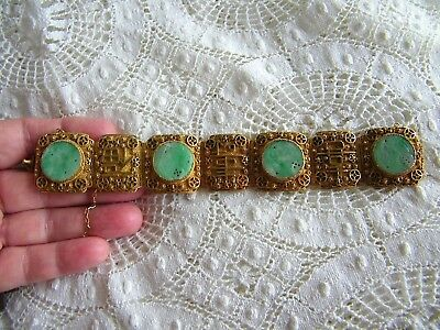 Vintage Chinese Carved Jade Silver Gilt Bracelet, genuine carved Jade Medallions