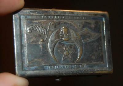 Antique 1919 Sterling Silver Shriners Belt Buckle, Imperial Council Indianapolis