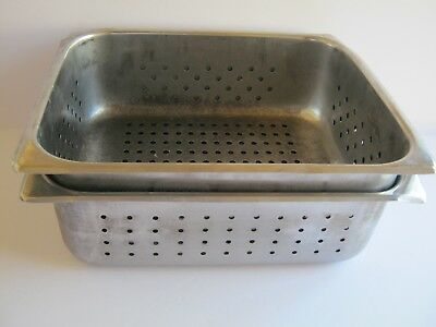 """2 pcs Perforated Steam Table Hotel Pans 1/2 Size 4"""" Deep Stainless Steel"""