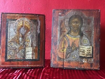 Antique 17/18th Century Russian Icons(pair).