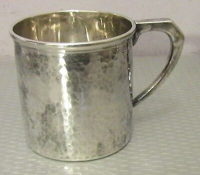 antique arts & crafts hand hammered STERLING 950 BABY MUG silver child cup 69g