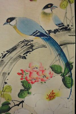 """4PCS Very Large Old Chinese Hand Painting Beautiful Flowers Birds """"SongYun"""" Mark"""