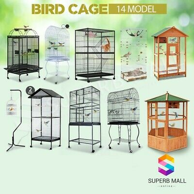 Multi Size Portable Parrot Pet Bird Cage Carrier Stand Canary Budgie Finch Perch